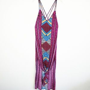 Forever21 boho tribal maxi dress with double split